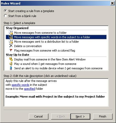 How to use Rules and Alerts to filter SPAM in Microsoft